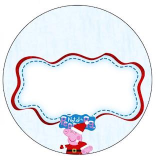 Toppers o Etiquetas de Peppa Pig en Navidad para imprimir gratis.