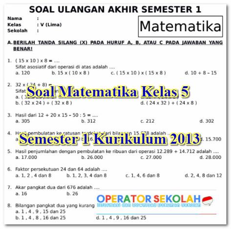 Soal Matematika Kelas 5 Semester 1 Kurikulum 2013