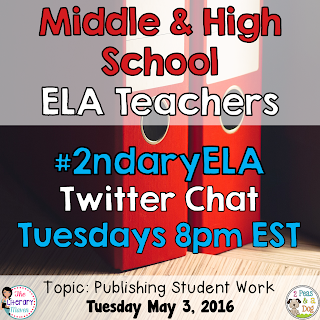 On Tuesday, May 3, our #2ndaryELA chat will focus on publishing student work in the ELA classroom.