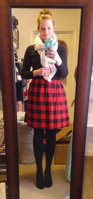 Buffalo check skirt, blanket scarf, red and black outfit