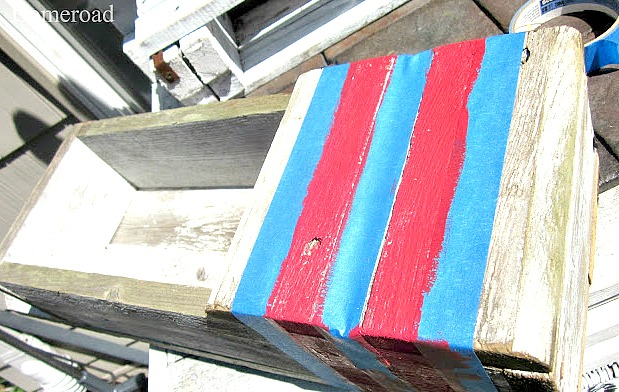 red stripes to create a buoy look on a DIY crate