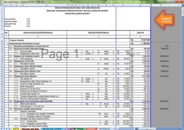 Aplikasi RAPBS Format Microsoft Excel Tahun Pelajaran 2016-2017