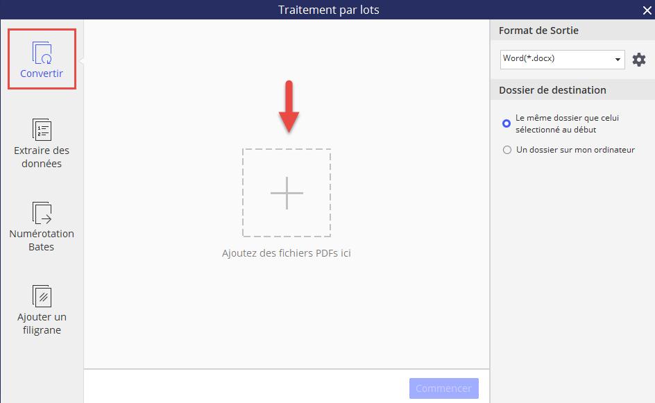 Ajouter des PDFs pour la conversion par lots