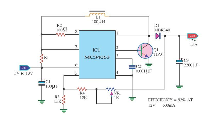 Electronics Circuit Application Mc34063 Voltage Variable