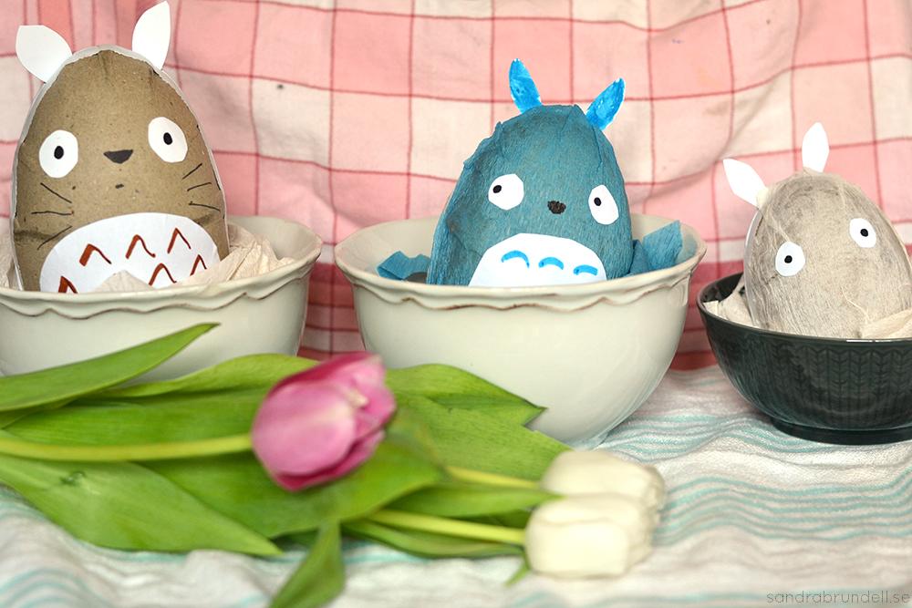Totoro-inspirerade påskägg.