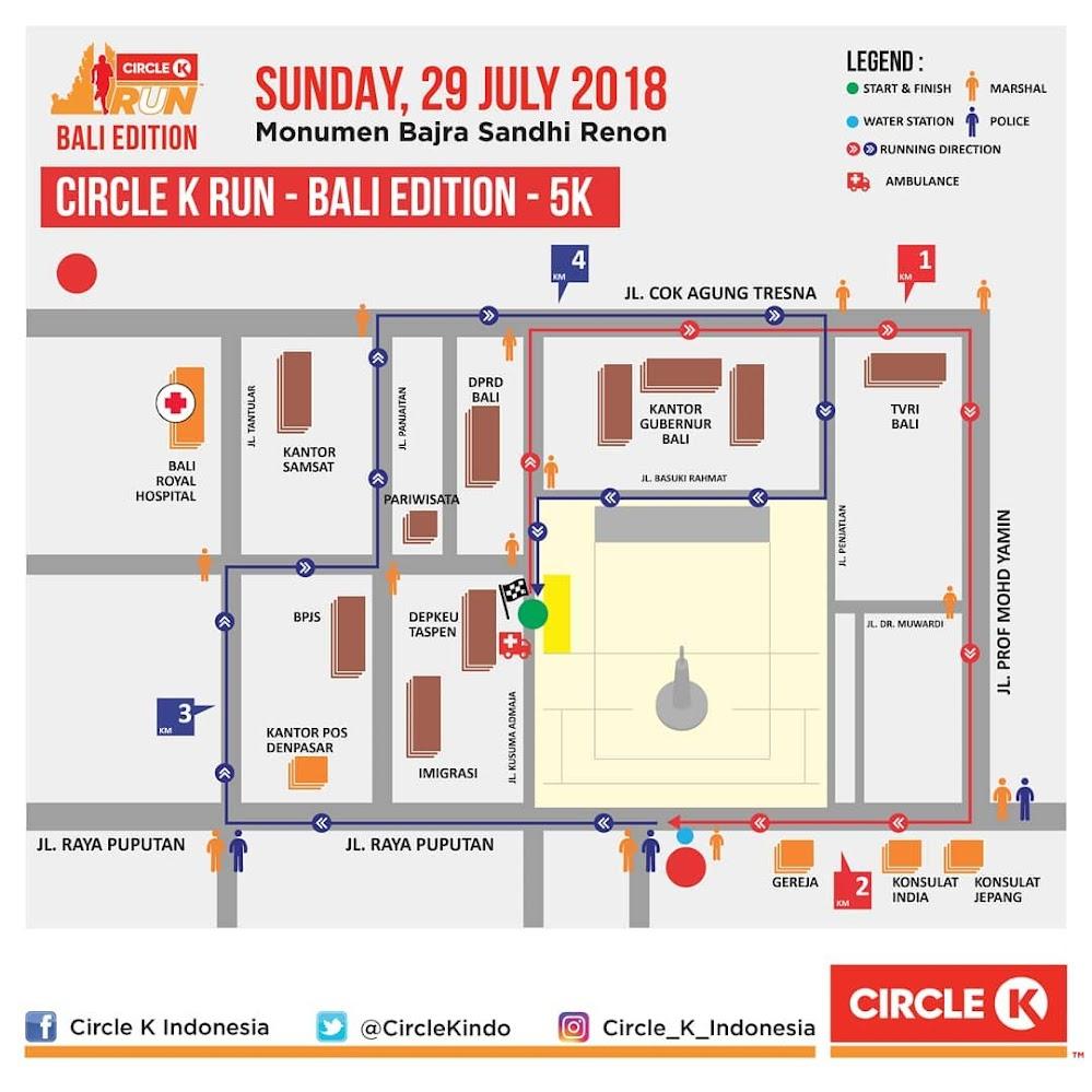 Rute Circle-K Run Bali • 2018