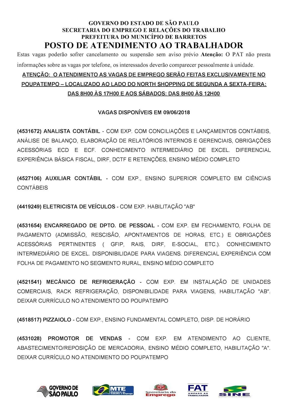 VAGAS DE EMPREGO DO PAT BARRETOS-SP PARA 09/06/2018 SÁBADO - Pag.1