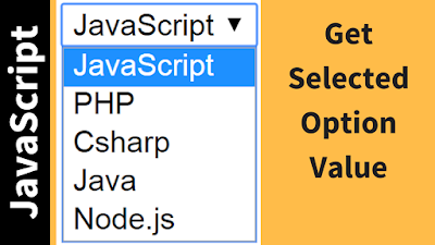 get selected option value using javascript