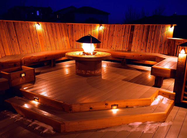 amazing wooden terrace with deck lighting ideas along with long wooden seat and stacked wooden floor