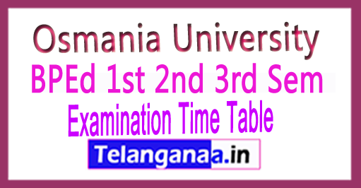 Osmania University OU BPEd 1st 2nd 3rd Sem Exam Time Table 2018 Download