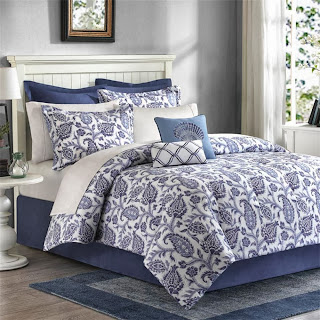 Madison Park Nantucket 8 Piece Comforter Set - Blue - Queen