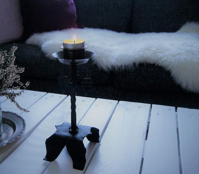 sisustus, taottu, kynttilänjalka