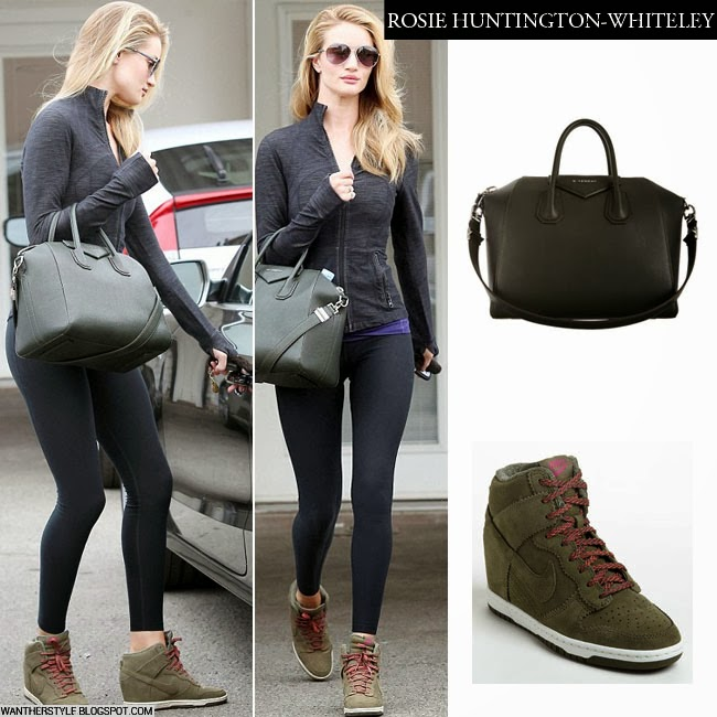What She Wore Rosie Huntington Whiteley In Olive Green