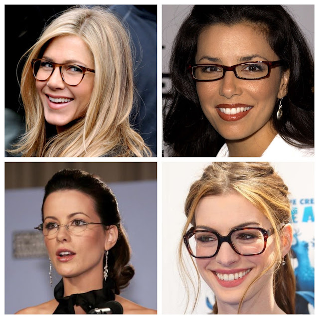 4 celebrities wearing glasses. Jennifer Aniston, Eva Longoria, Kate Beckinsale and Anne Hathaway