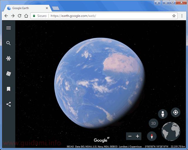 Nuovo Google Earth 2017 applicazione web