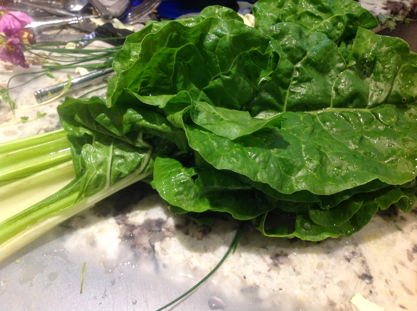 bunch of green swiss chard