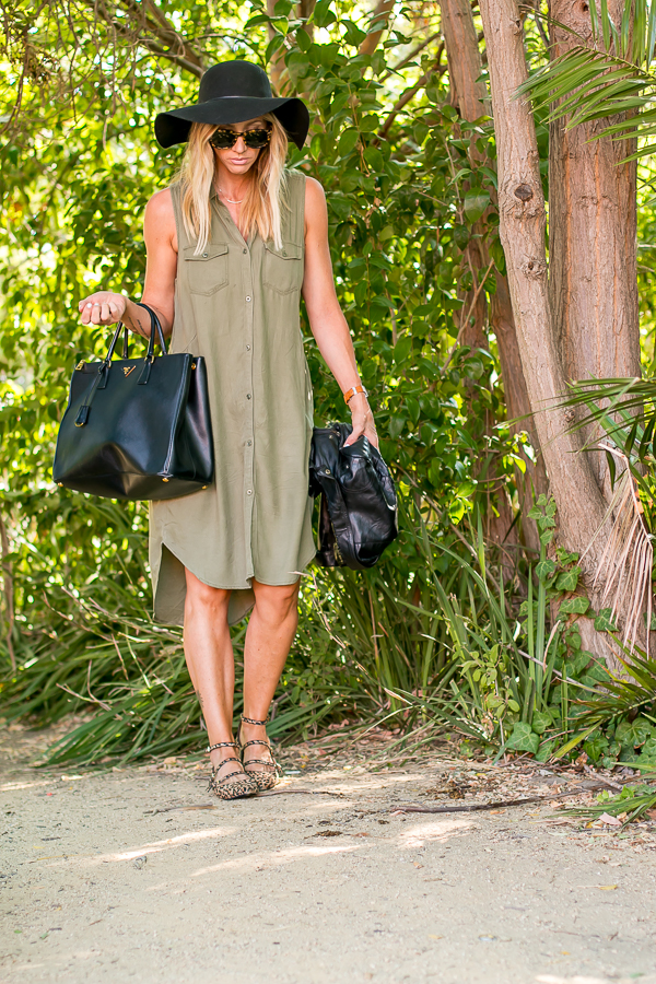 green sleeveless shirtdress