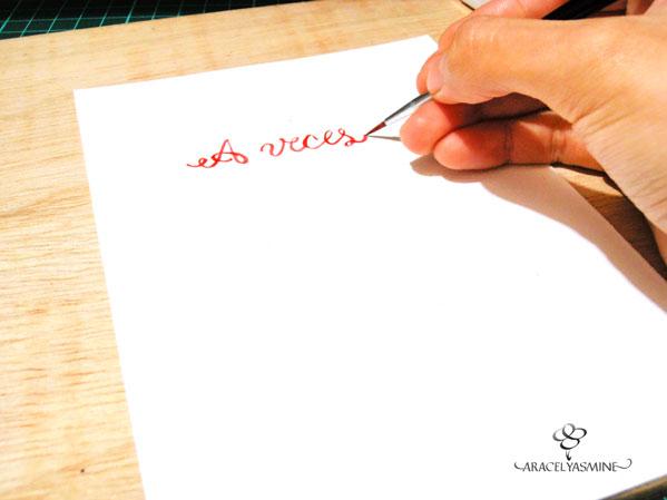 frase escrita con pincel y acuarelas tarjeta