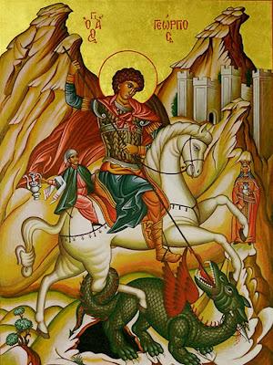 Icono colorido con san Jorge a caballo clavando la lanza al dragon