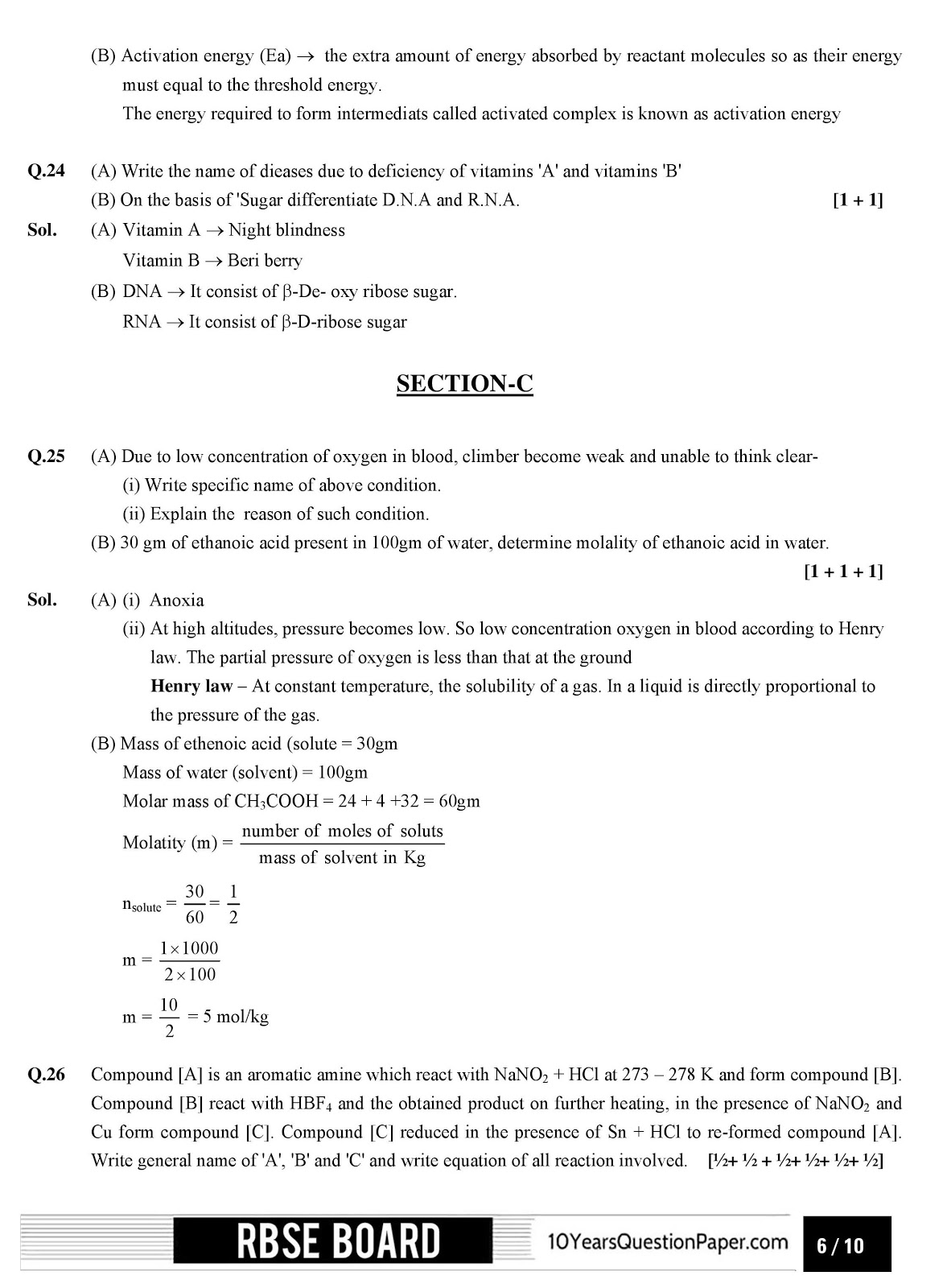 RBSE class 12th 2017 Chemistry question paper with solution