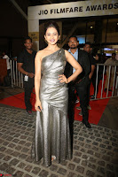 Rakul Preet Singh in Shining Glittering Golden Half Shoulder Gown at 64th Jio Filmfare Awards South ~  Exclusive 046.JPG
