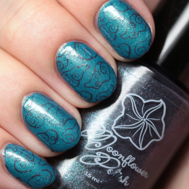 Moonflower Polish Huracán stamped over Mar Caribe (Caribbean Sea)
