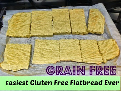 grain free flatbread on a cookie sheet