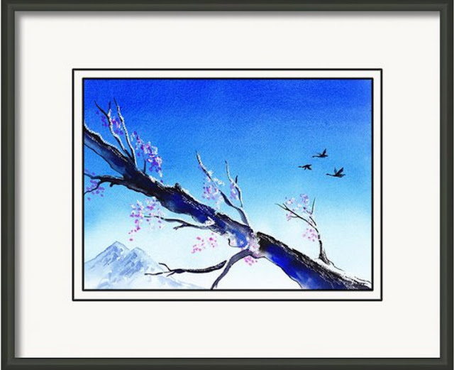 blue watercolor artwork home decor