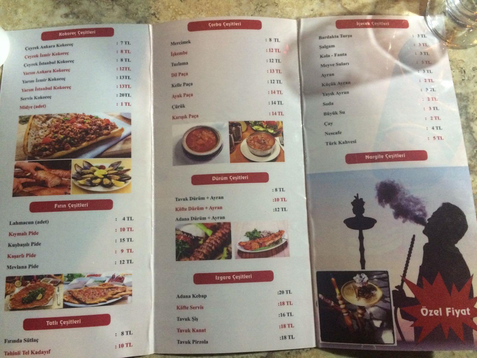 corbaci kokorec kayseri merkez alpaslan melikgazi menu fiyat