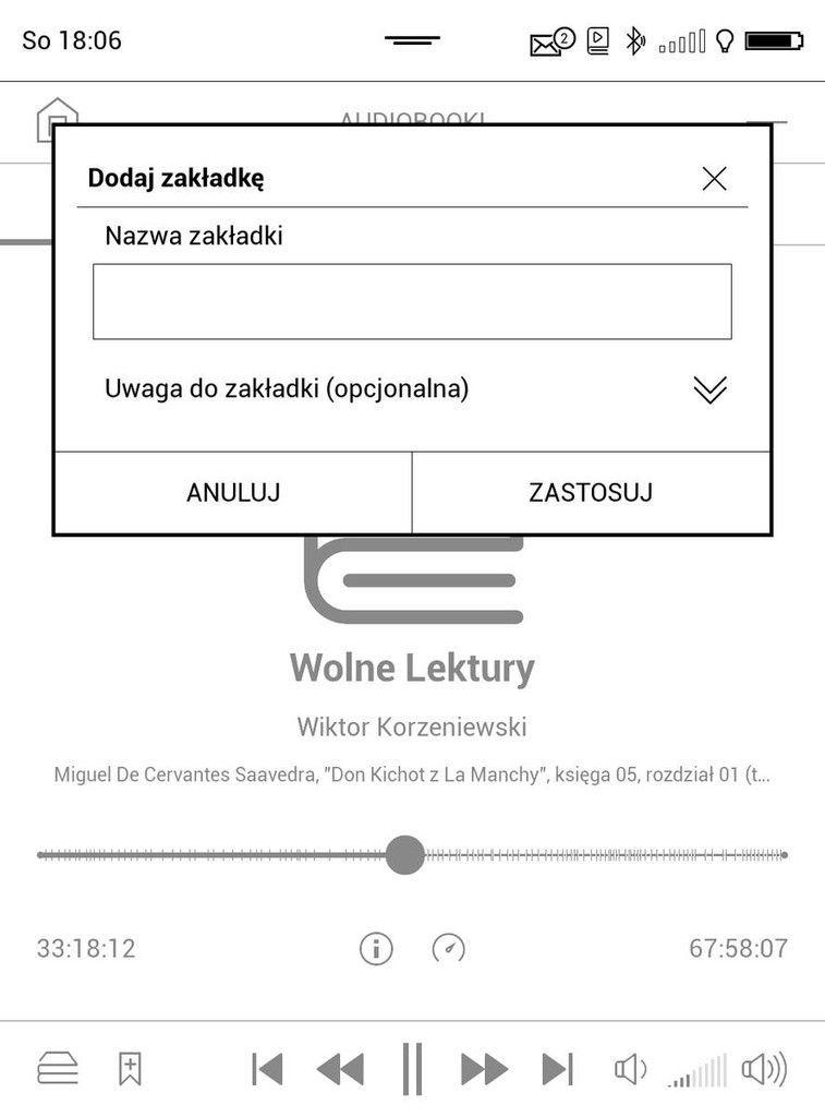 PocketBook Touch HD 3 – dodawanie zakładki w audiobooku