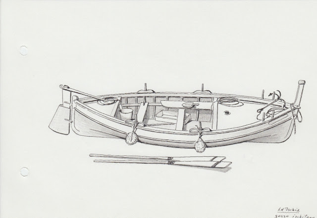 disegno di aldo e corrado cherini fatto a mano libera del gozzo di isola d'ischia