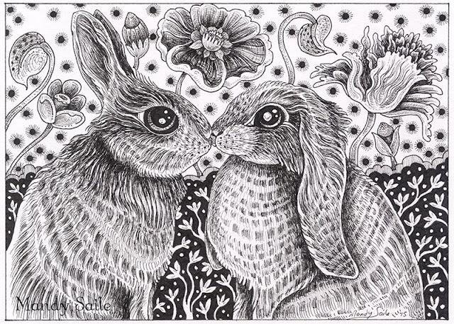 Mandy Saile, ink drawings, rabbits, black and white artwork