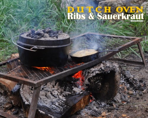 Ribs & Sauerkraut cooked in a slow cooker or in a 'real' Dutch oven (pictured) over coals or an open fire.
