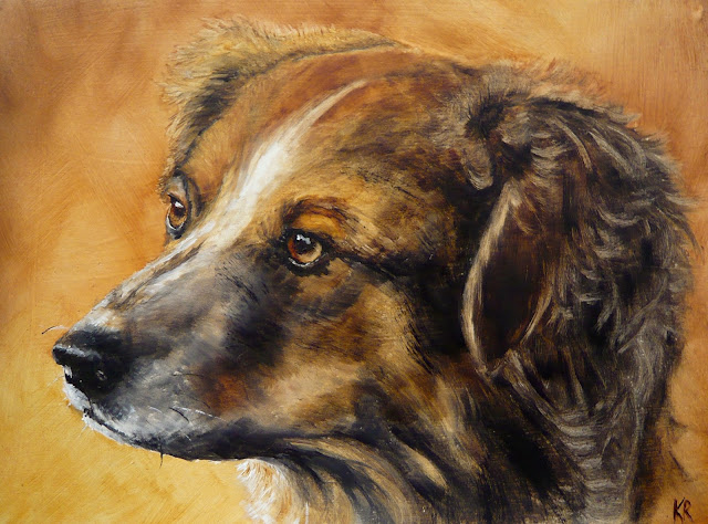 oil painting of a mixed breed dog with golden fur and amber eyes
