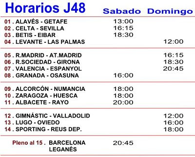 Horarios de los partidos de futbol de la Jornada numero 48
