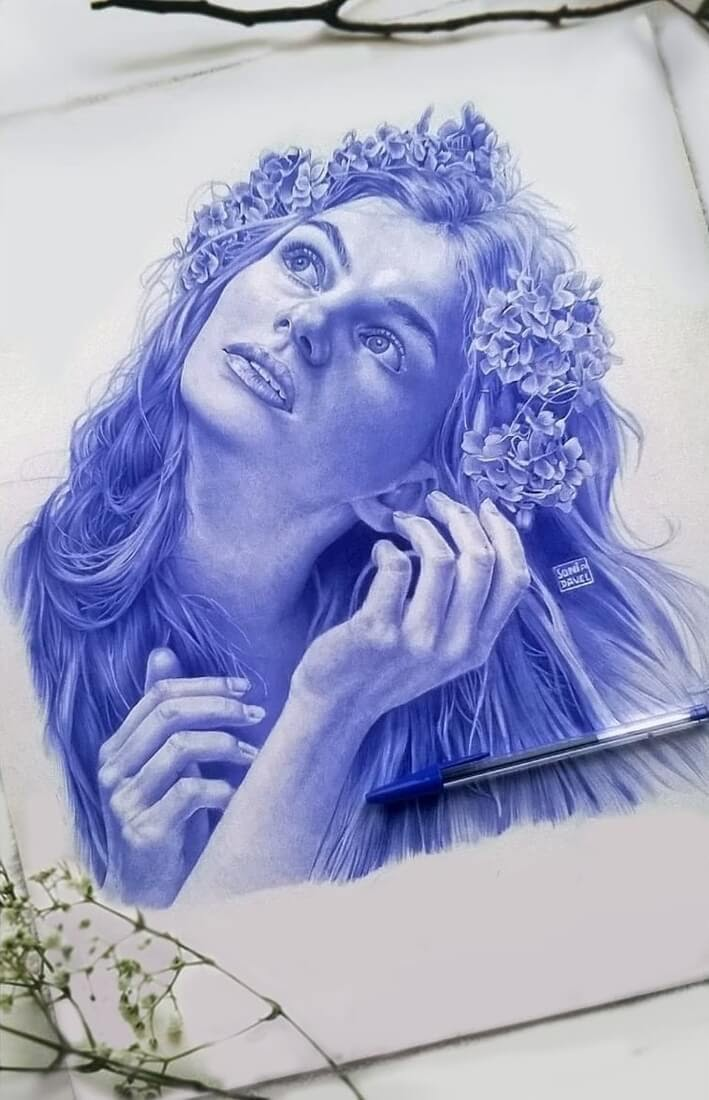 10-Thoughts-of-Spring-Sonia-Davel-Indelible-Ballpoint-Pen-Portraits-www-designstack-co