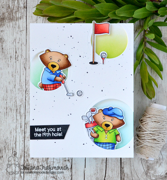 Golf Card by Tatiana Trafimovich | Winston's Tee Time | Golfing Bear Stamp set by Newton's Nook Designs