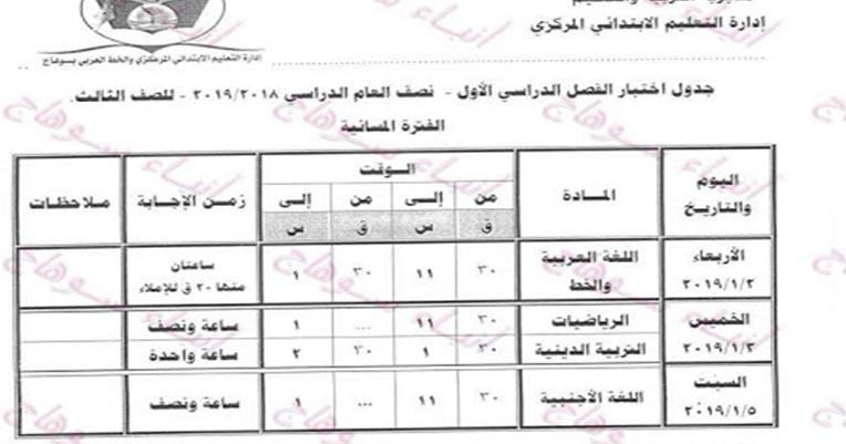 جدول امتحانات محافظة سوهاج 2019
