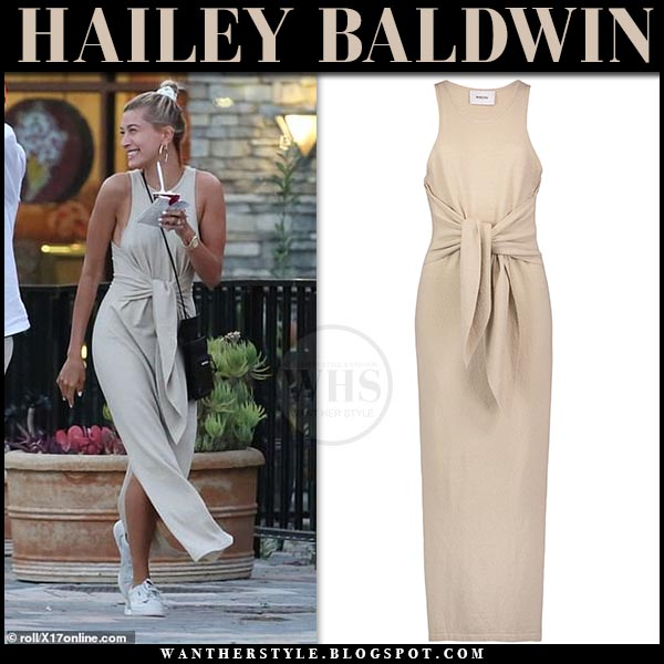 4d4b7e2f7be Hailey Baldwin in beige tie-waist dress and sneakers on March 29 ~ I ...
