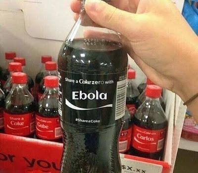 Kalte Coca Cola Zero mit witzigem Namen - Ebola
