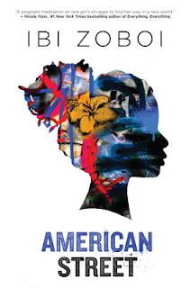 book cover of American Street by Ibi Zoboi, showing a silhouette of a girl with graffiti within the silhouette's profile