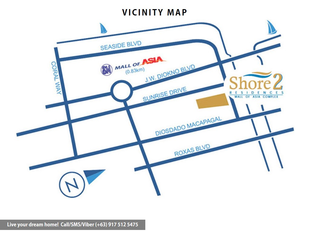 Vicinity Map - SMDC Shore 2 Residences - 1 Bedroom End Unit With Balcony | Condominium for Sale SM Mall of Asia Pasay