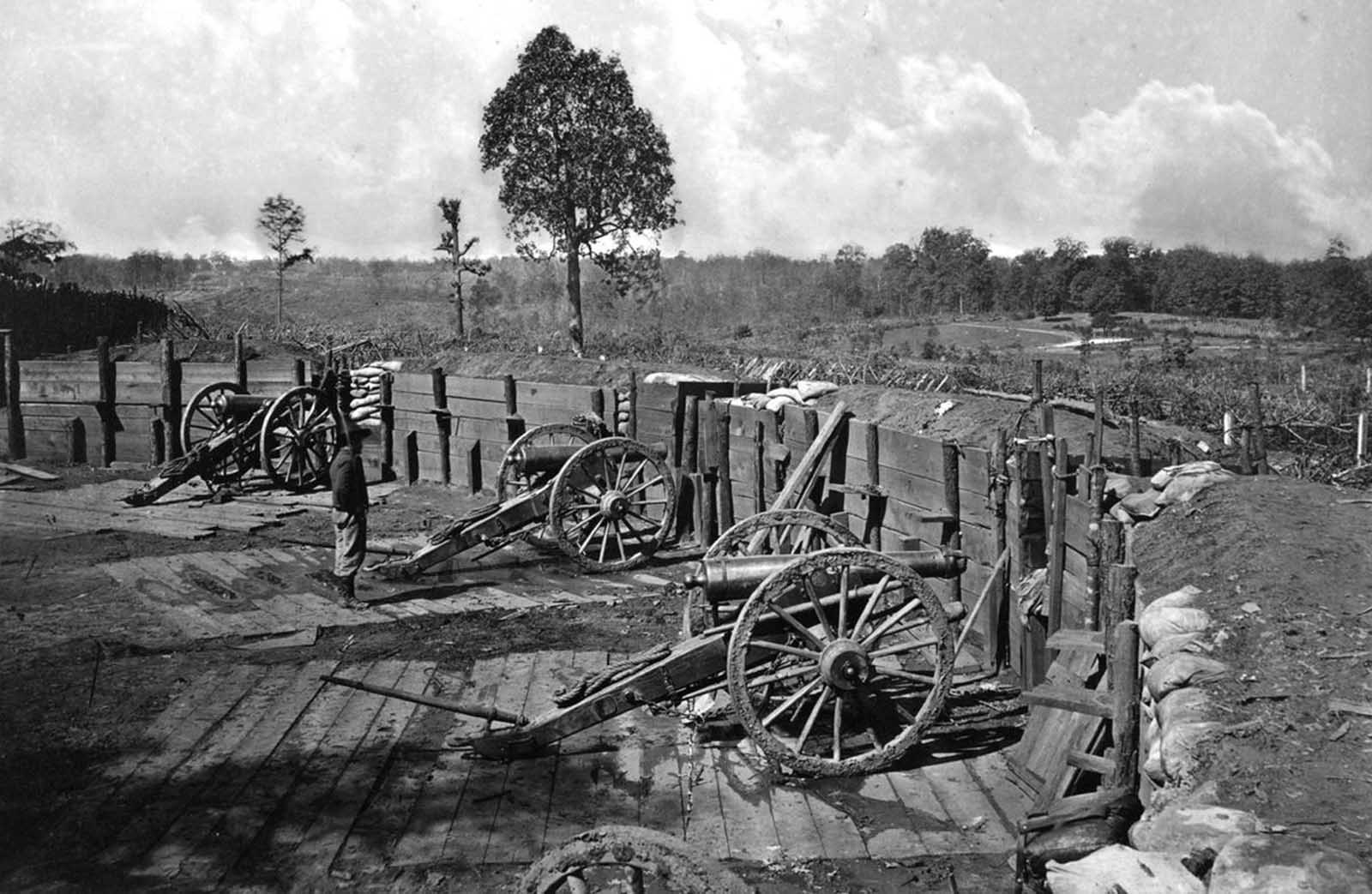 Rebel fortifications in front of Atlanta, Georgia, in 1863 or 1864.