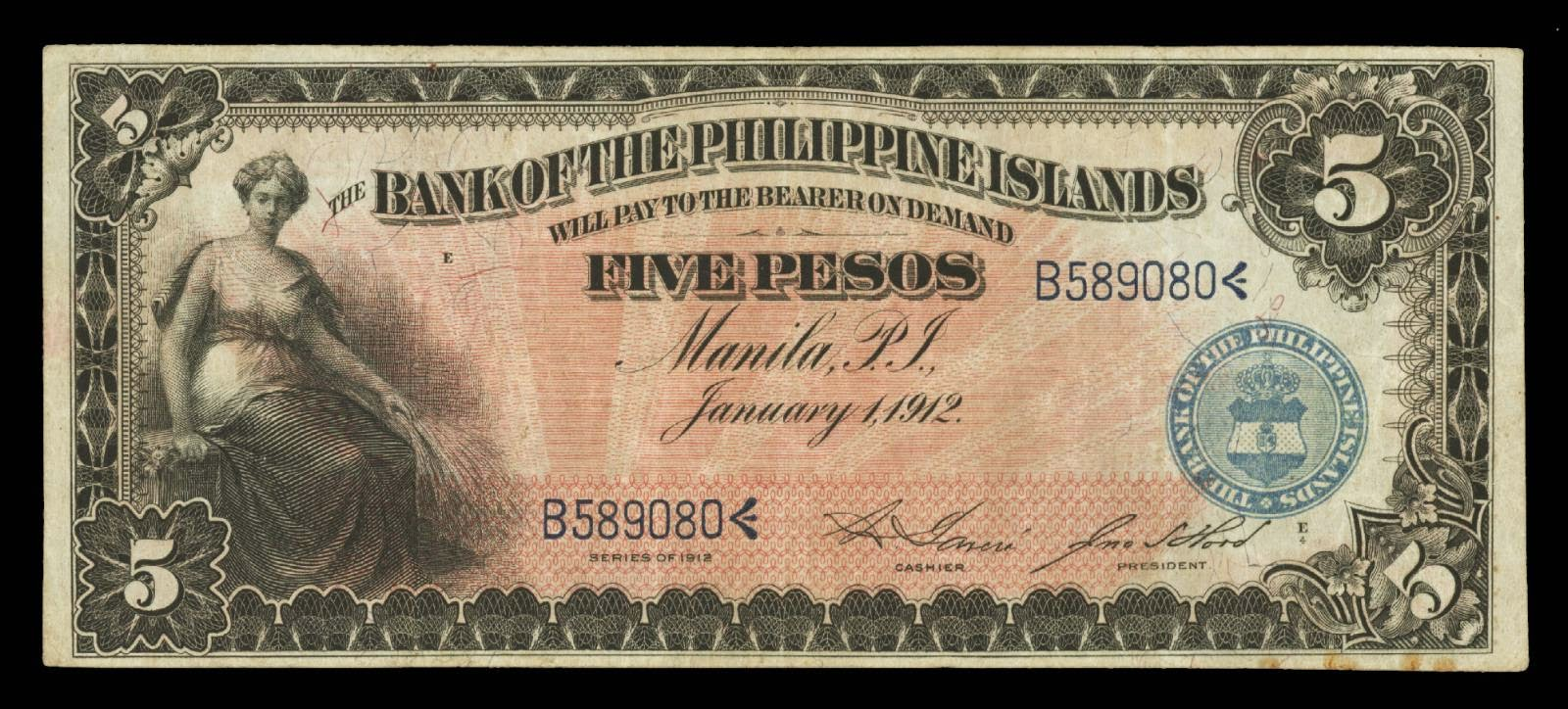 Philippines Banknotes 5 Pesos Bank Note 1912