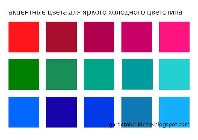 Акцентные цвета для яркого холодного цветотипа