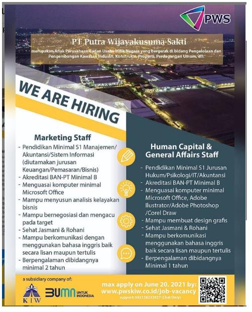 Lowongan Kerja PT Putra Wijayakusuma Sakti Bulan Juni 2021