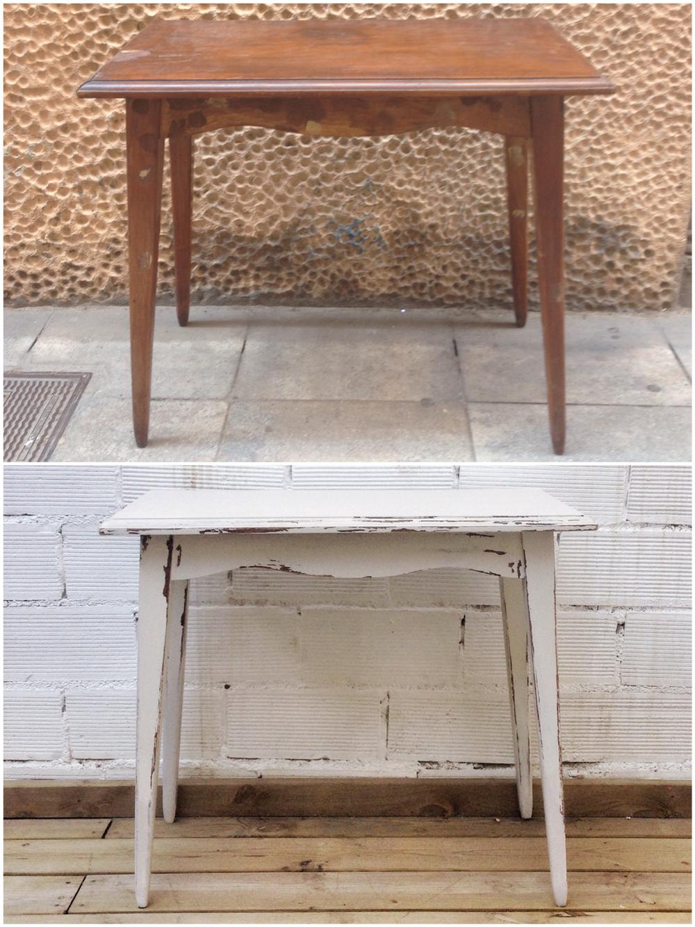 Antes y después - mesita envejecida - Studio Alis