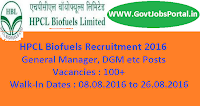 HPCL Biofuels Recruitment 2016