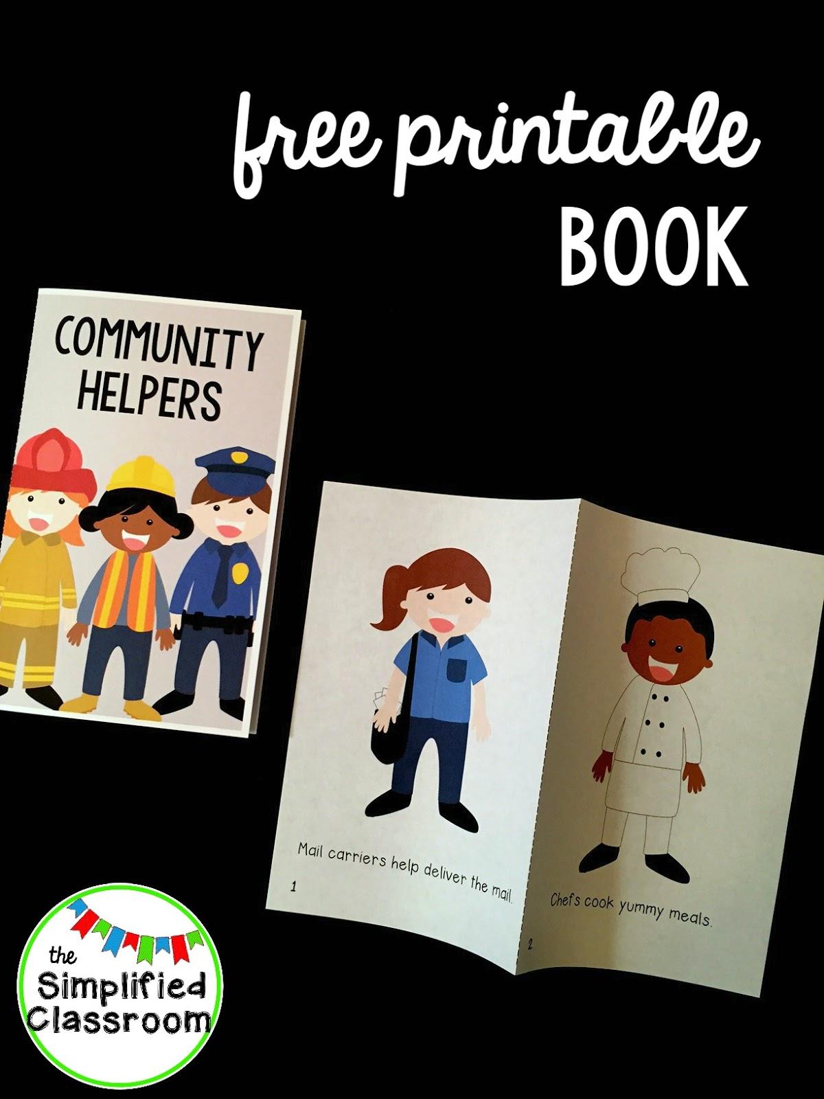 picture regarding Community Helpers Printable Book identified as The Simplified Clroom: Regional Helpers Basic Reader Freebie!