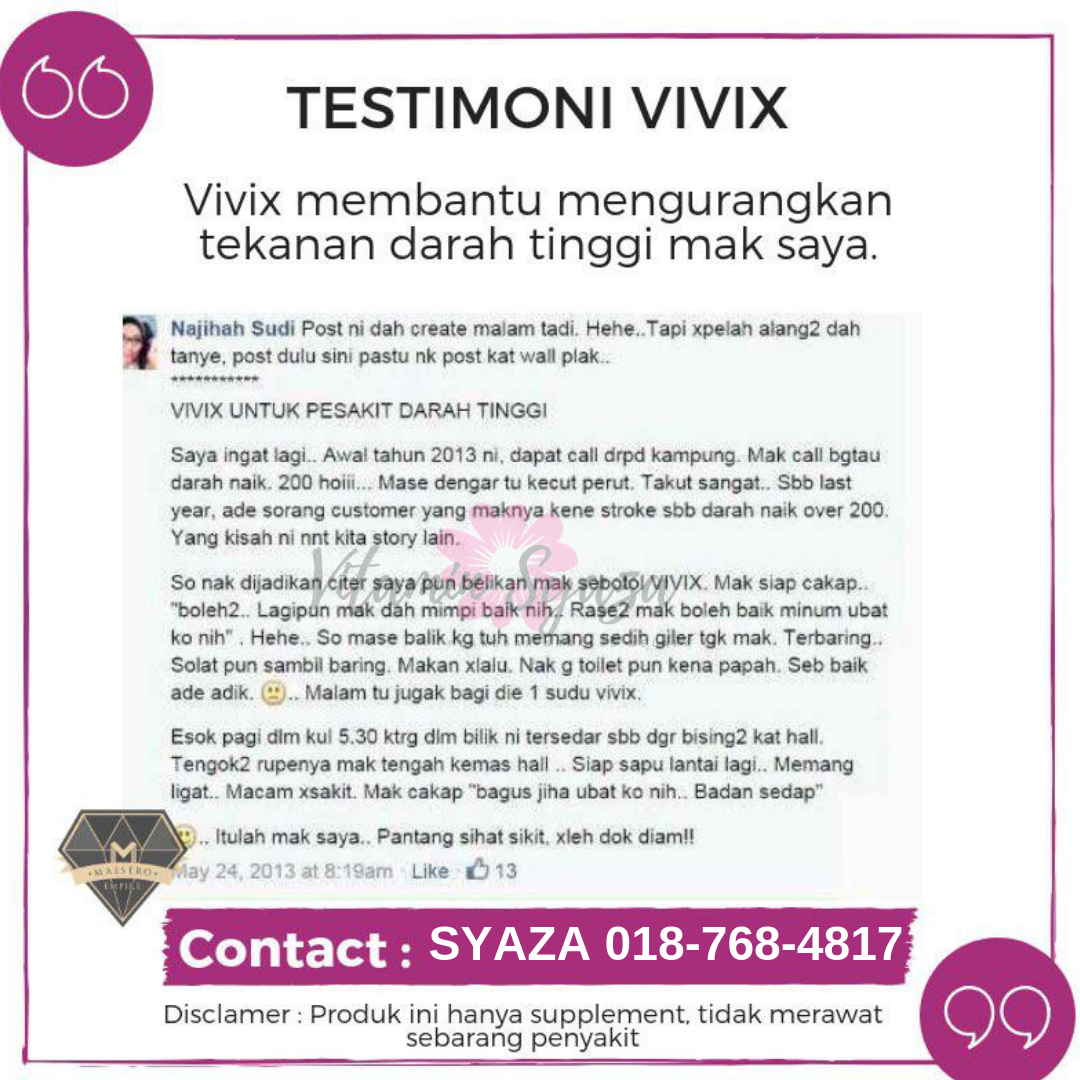 testimoni vivix shaklee untuk pesakit darah tinggi